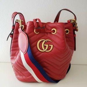 Gucci Marmont 2.0 Matelassé Bucket Bag - Red